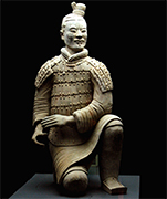 Soldier of Emperor Qin's terra cotta army, Qin Dynasty, China... Exquisite terracotta army of the first Qin Dynasty ruler Shihuangdi represents the emperor's ability to control the resources of the newly unified China, and his attempt to recreate and maintain that empire in the afterlife... According to the Shiji records of the Han dynasty court historian Sima Qian, Qin Shihuangdi was a phenomenal leader, who began connecting existing walls to create the first version of the Great Wall of China, constructed an extensive network of roads and canals throughout his empire, standardized written language and money, and abolished feudalism, establishing in its place provinces run by civilian governors