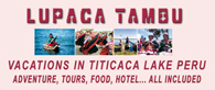 Incas land vacations discover the real Peru and peruvians.. in the Titicaca lake in our Chucuito village, located at 15 km of Puno, is the old capital of the LUPACA TAMBU an Aymara state... Live with us Be our guest in our village, in our houses, in our lake hotel, We will share you, our Aymara culture, incas food, textile knowledgement, music, artcrafts, Titicaca Lake sports, Uros tours, folklore party, Andes music... all included maintaining our passion for the Mamapacha and our environment, support our village enjoing your Peruvian vacations